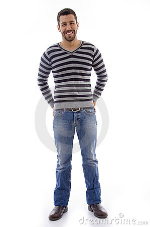 Full body portrait pose of standing man