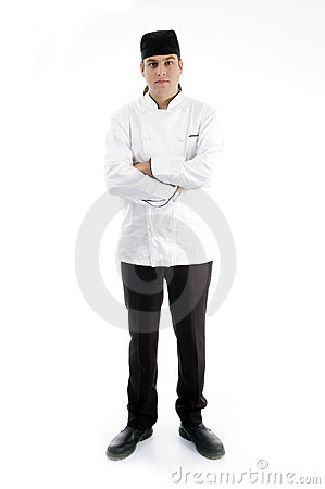 Full body pose of handsome chef