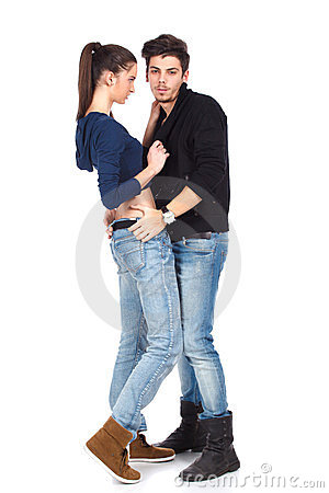 Full body shot of a couple wearing jeans