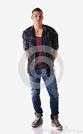 Free Full Body Shot Of Attractive Young Man With Checkered Shirt Royalty Free Stock Images - 37041809