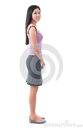 Full body side view Asian young woman