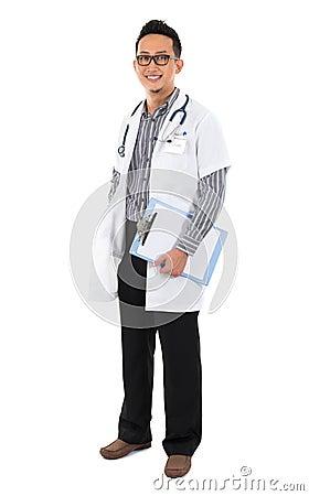 Full body southeast Asian medical doctor.