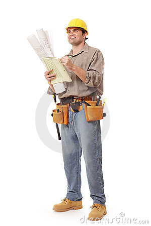 Full body worker writing notes