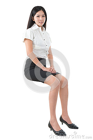 Full body young Asian woman sitting