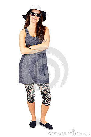 Full body young woman enjoying summer on white