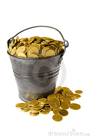 Free Full Bucket Of Golden Coins Stock Photography - 1702252