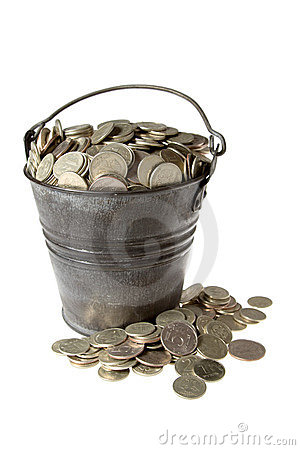 Full bucket of silver coins