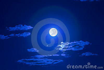Full Clouds Moon Sky