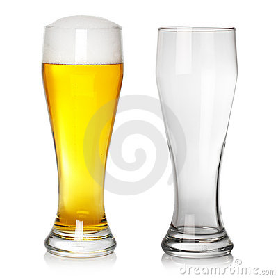 Full and empty beer glass