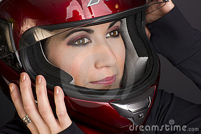 Full Face Helmet on Confidant Woman Rider