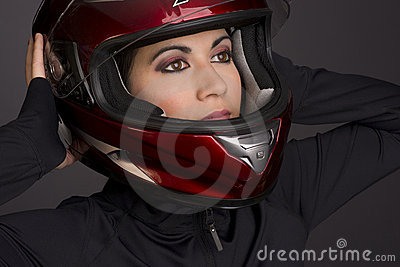 Red Full Face Helmet on Attrace Womans Head