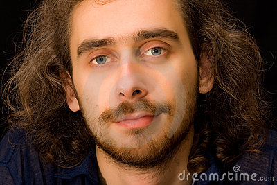 Full face portrait of young adult man