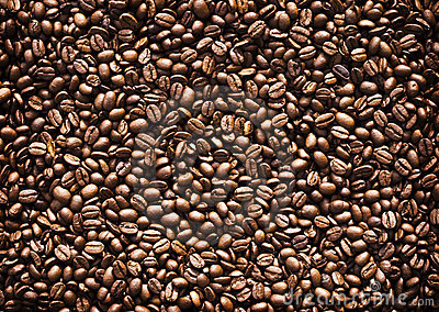 Full frame of roasted coffee beans.