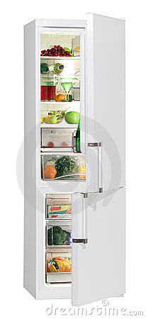 Full of fresh food refrigerator.