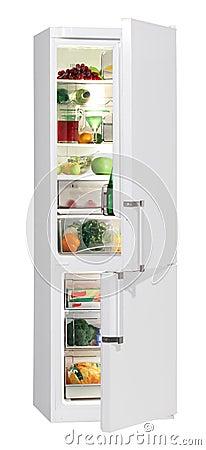 Full of fresh food refrigerator.