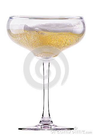 Full  glass with white wine or champagne