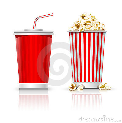 Free Full Glasses With Drink And Popcorn Stock Photo - 17341390