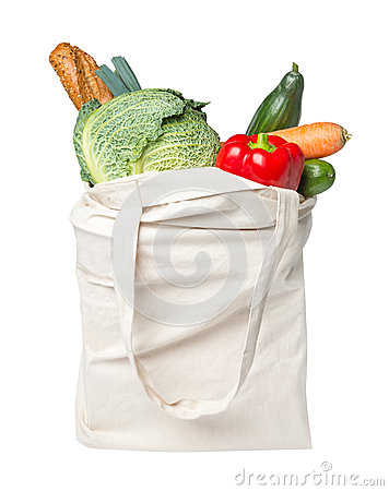 Full grocery bag with food