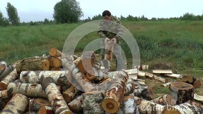 Full HD footage of a man choping firewood with axe stock footage