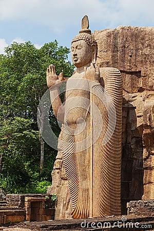 Free Full Height Avukana Statue Is Standing Statue Of Buddha. Sri Lan Royalty Free Stock Images - 94055249