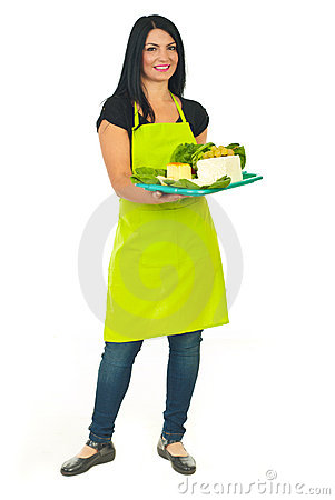 Full length of attractive cheese maker female