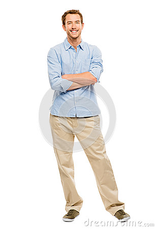 Full length of attractive young man in casual clothing white bac