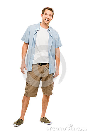 Full length attractive young man in casual clothing white backgr