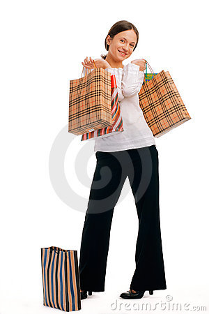 Full length of an attractive young woman shopping