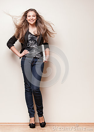 Full length of beautiful young girl
