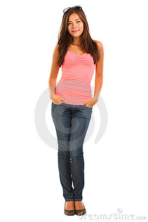 Full length beautiful young woman on white