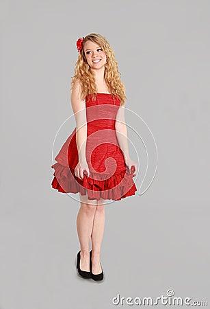 Full length of blonde woman