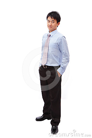 Full length business man with confident smile