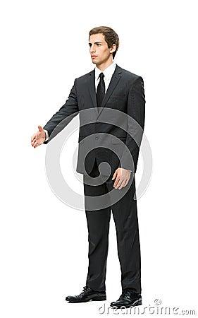 Full length of business man handshake gesturing