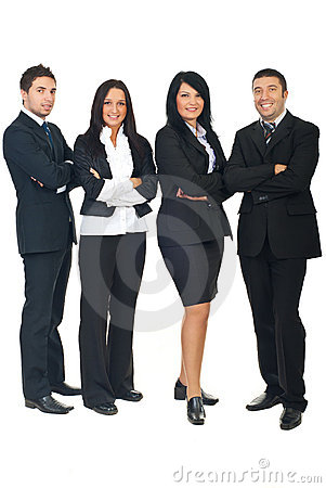 Full length of business people group