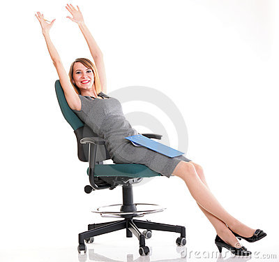 Full length business woman sitting on chair