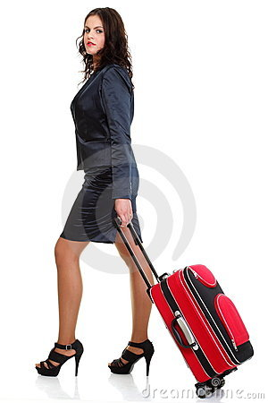 Full length business woman to late red travel bag
