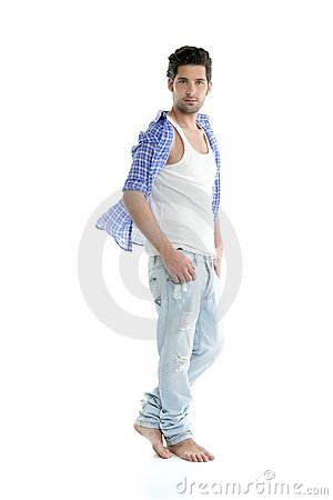 Full length casual denim handsome man over white