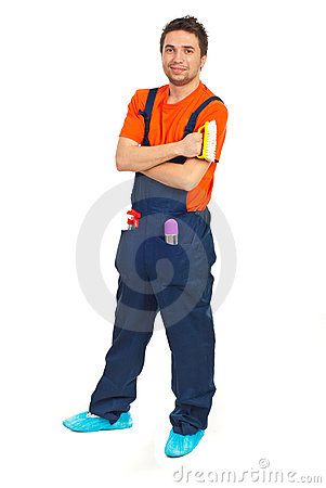 Full length of cleaning worker man