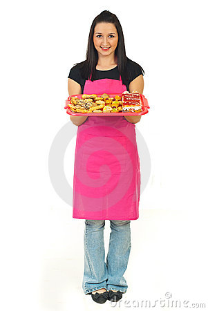 Full length of confectioner woman