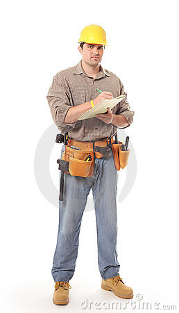 Full length construction worker