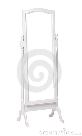 Full length dressing mirror on stand, with path