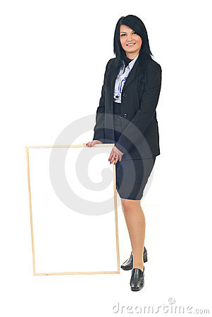 Full length of executive woman with placard