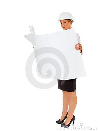 Full length female architect