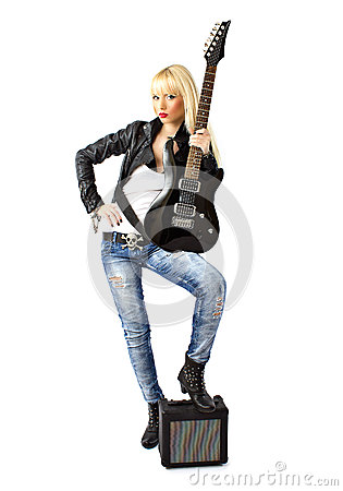 Full length of female punk rock star