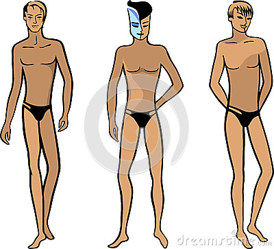 Full length front view of a standing naked man
