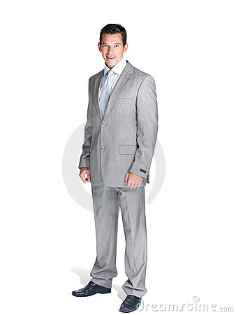Full length of a happy young business man standing