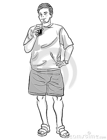 Full length illustration of young guy