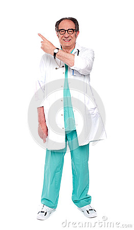 Full length image of doctor indicating up