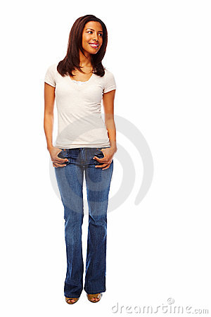 Full length image of a young African American wome
