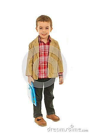 Full length of little business child